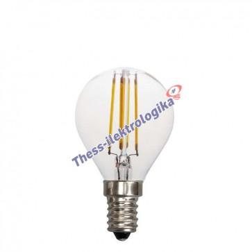 Λαμπτήρας LED Διακοσμητικός Filament σφαιρικός 4W E14 3000K 240V