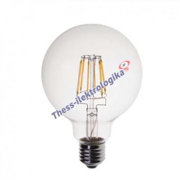 Λαμπτήρας LED Διακοσμητικός Filament σφαιρικός 8W E27 3000K 240V